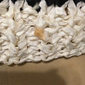 Vintage Sweaters - Vintage ribbon sweater black white 1980s